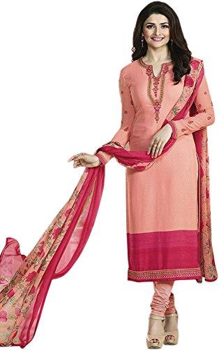 Prachi Desai Orange Neck Embroidered Crepe Salwar Suit