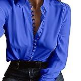 Revers einreihiges Hemd ALISIAM L?ssiges lang?rmeliges Revers einreihiges Hemd Legeres lang?rmliges Blusen-Revers-Hemd