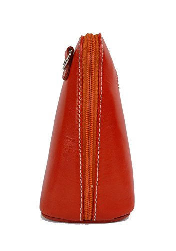 Vera Pelle Italiana Piccolo Croce Corpo Borsa o borsa a tracolla Purple Small orange, tangerine