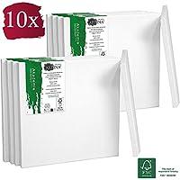 Artina Set de 10 Lienzos blancos Akademie con certificación FSC® - 10x10 cm 100% algodón Lienzo y Bastidor Blancos - 280g/m² - no se deforma