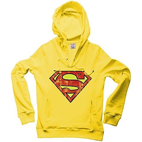 DC Comics - Superman Logo Sudadera con cuello pico y capucha - Suéter con V-Neck y capucha - Amarillo - Diseño original con licencia – LOGOSHIRT