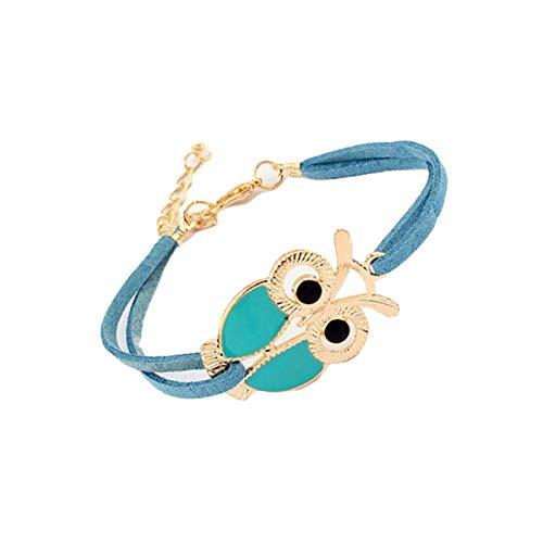 Qiuday Armband in Dunkelblau Silber Größenverstellbar, owl/vintage/ethno/hippie/must have/statement/schmuck Mode Frauen Mädchen Vintage Owl Dekoration Kunstleder Armbänder -