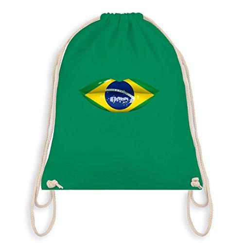 Shirtracer Länder - Lippen Bodypaint Brasilien - Unisize - Grün - WM110 - Turnbeutel & Gym Bag
