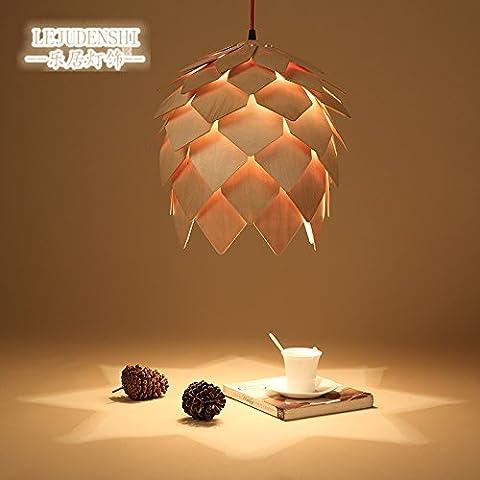 American Home Art LED Iluminación candelabro de madera creativa Glándula Pineal Lámparas de luz 1 Carácter restaurantes para el almuerzo y la cena, en nombre de la Araña,400mm 3kg.