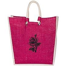 WOW Women's Shoulder Jute Bag/Lunch Jute Bag/Shopping Jute Bag/Gym Jute Bag (Pink) [Vinyl]