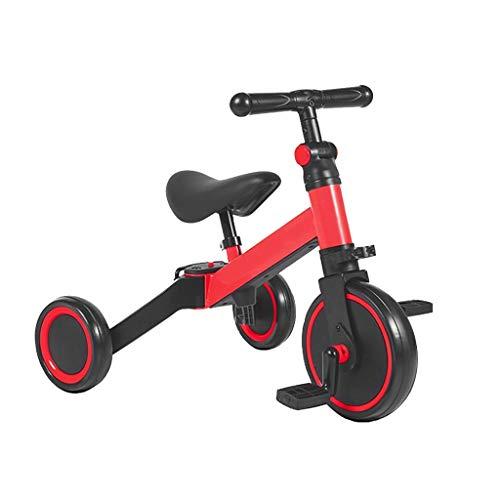 Dreiräder Dreirad Kinderdreiräder Baby Dreirad Leichte Sitzbuggys Dreirad Ab 3 Jahren Umweltschutz Stahl Baby Kleinkinder Mit Lenkbarer Schubstange 3 Farben (Color : Red)