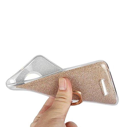 EKINHUI Case Cover Soft Flexible TPU Back Cover Case Shockproof Schutzhülle mit Bling Glitter Sparkles und Kickstand für MOTO C Plus ( Color : Pink ) Pink