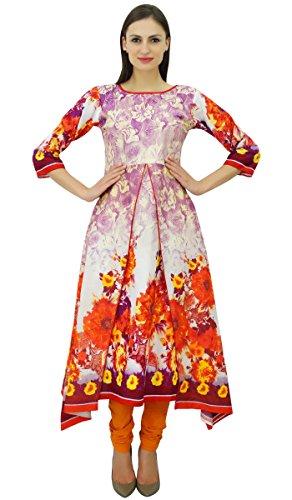 Bimba Frauen Kurta Designer Kurti Asymmetrial Hem Sommer Tunika Kleid Mehrfarben