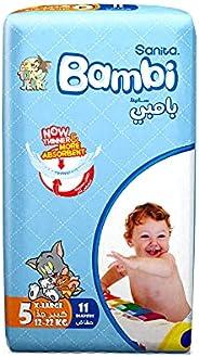 Sanita Bambi Baby Diapers Regular Pack Size 5, X-Large, 12-22 KG, 11 Count