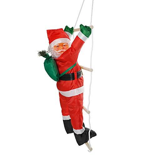 Kompanion Père Noël sur échelle - Décoration de Noël Suspendue pour l'intérieure et l'extérieure, pour Murs, fenêtres et Jardin, 60 CM