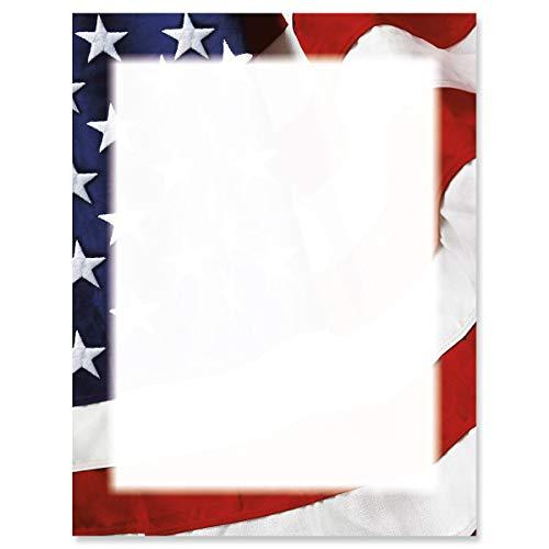 d Ol' Flag Patriotische Flagge, 25 Stück, Amerika-Flagge, 21,6 x 27,9 cm, kompatibles Computerpapier, Patriotischer Briefkopf, Flyer, Veteranentag, Gedenktag ()