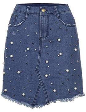 DRESS_start Gran Venta! Falda de Vaquer Cuentas con Correas Azul Moda Para Mujeres