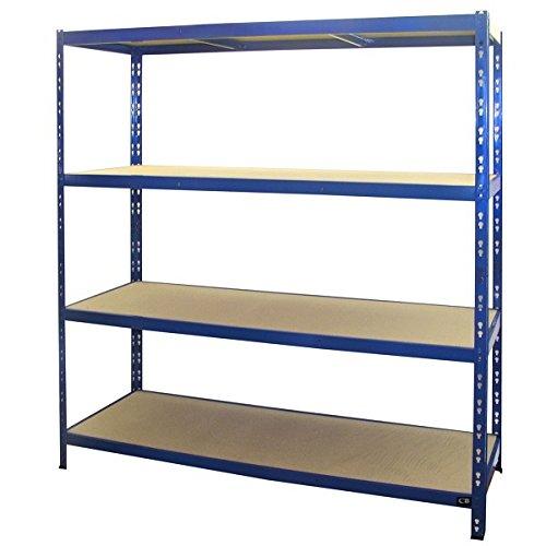 Schwerlastregal | 178,5x150x50cm | CALLIDUS BAUMARKT | blau pulverbeschichtet | 150 cm breit ✓ 4 Böden je max. 250 kg Tragkraft ✓ Lagerregal Metallregal Kellerregal