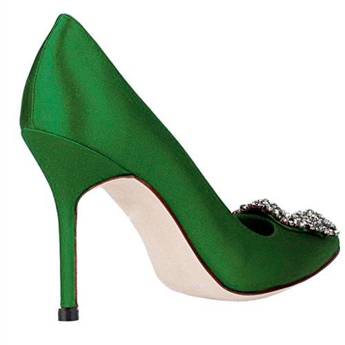 MERUMOTE Damen Satin Diamond Pumps High Heels Stilettos Hochzeitsfeier Schuhe Size 35-46 Green