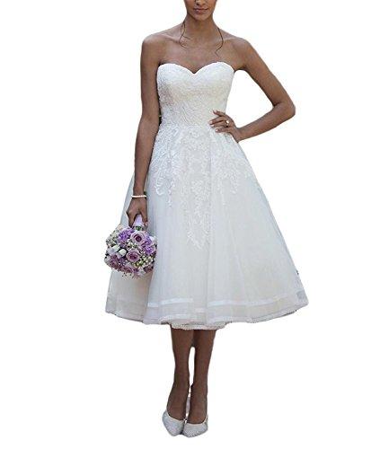 CLLA dress Damen Schatzhals Hochzeitskleider Elegant Teelänge Spitze Brautkleider Brautmode...