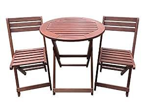 Habitat et Jardin - Salon de jardin en bois exotique Sydney - Mahogany - Marron acajou - table pliante Ø70 cm + 2 chaises pliantes