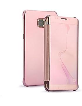 Funda Samsung Galaxy S6 Inteligente Flip Cover Hora Clear View Carcasa Soporte Plegable Espejo Reflexión Ultra...