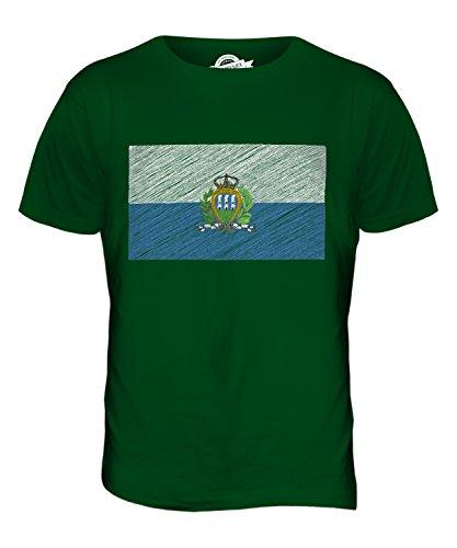 CandyMix San Marino Bandiera Scarabocchio T-Shirt da Uomo Maglietta Verde bottiglia
