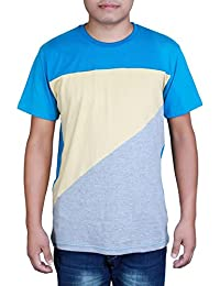 Clifton Men's Half Sleeve Cut & Sew T-Shirt-03-C-Dk Blu/Beige/Gry Mlg