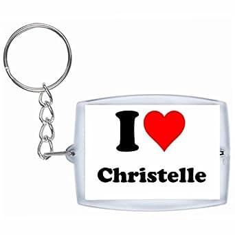 Porte-clés I Love Christelle en Blanc| grande idée de cadeau pour toute occasion!