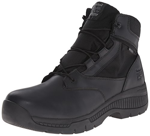 6 Zoll-zip-boot (Timberland PRO Men's 6 Inch Valor Soft Toe WP Side Zip Work Boot, Black Smooth Leather Ballistic Nylon, 9 W US)
