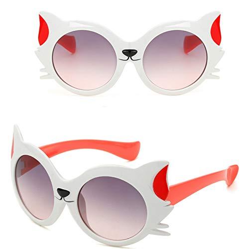 NECCT Neue Cartoon Fox Sonnenbrillen Kinder Reisen Outdoor Silikagel Sonnenbrille Candy Farbe Brille,White Red