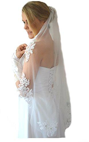 Schleier Brautschleier FEIN 1 Lage mit Kamm Strass Hochzeit Braut Weiß Ivory 85 cm (Weiß)