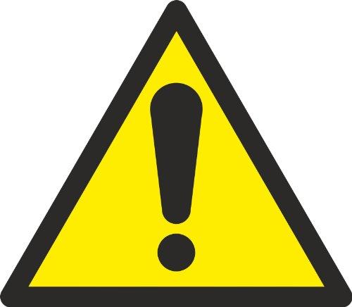 """Aufkleber ASR-A1-3 (DIN EN ISO 7010) """"Allgemeines Warnzeichen W001"""" 5 cm groß 10 Stück"""