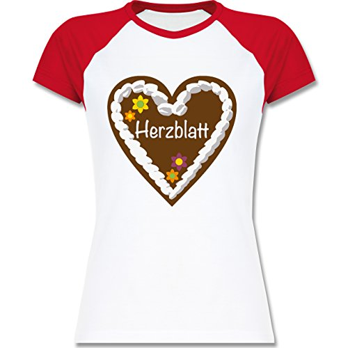 Oktoberfest Damen - Lebkuchenherz Herzblatt - zweifarbiges Baseballshirt / Raglan T-Shirt für Damen Weiß/Rot