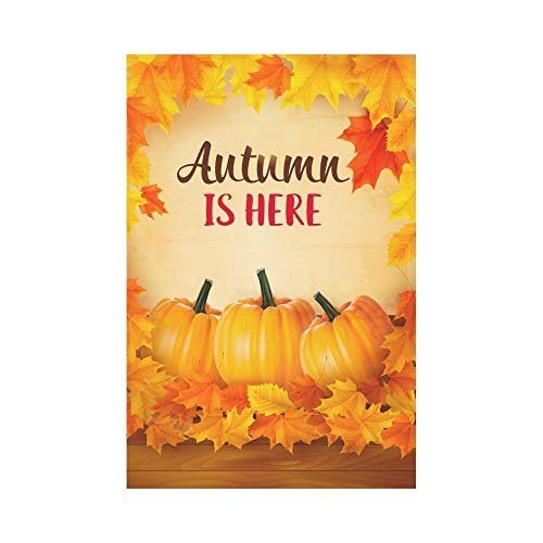 Fall Pumpkins on Wooden Polyester Garden Flag House Banner 12 x 18 inch, Autumn Maple Leaves Decorative Flag for Party Yard Home Outdoor Decor -