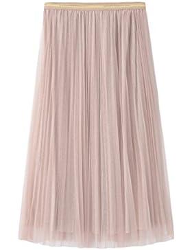 Yiiquanan Mujeres Midi Tulle Faldas del Verano Estilo Simple Elegantes Faldas Plisada Larga de la Cinturón Elástico