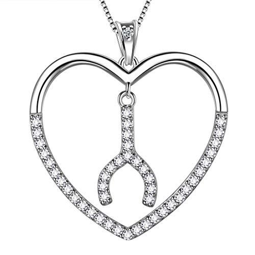 AuroraTears 925 Sterling Silber Liebe Herz Halskette Wishbone Anhänger mit Zirkonia Schmuck Dating Geschenke für Frauen DP0173W (Silber Sterling Halskette Wishbone)