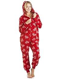 Camille Pijama de una pieza Forro polar Estampado corazones y copos Rojo