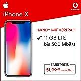 Apple iPhone X (space grau) 64GB Speicher Handy mit Vertrag (Vodafone Smart XL) 11GB Datenvolumen 24 Monate Mindestlaufzeit
