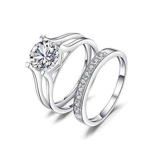 JewelryPalace Mujeres 2.26ct Simple cúbicos Zirconia compromiso y anillos de bodas Plata de ley 925 Tamaño 14
