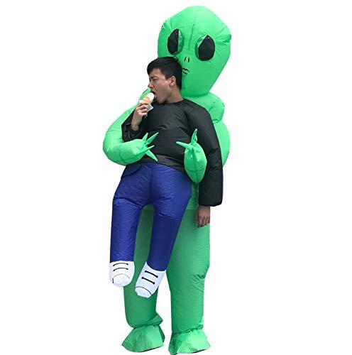 HUKD Aufblasbare Kostüm grün außerirdischen Erwachsene Funny Blow Up Suit Party Fancy Dress Unisex Kostüm Halloween Kostüm (Grüne Energie Halloween Kostüm)