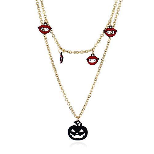 (nowbetter Anhänger Halskette Halloween Kürbis Ghost Halskette Masquerade Ball Karneval Kostüm Party Supplies Jewelry Zubehör Geschenke für Frauen Mädchen, Style A, 40 cm)