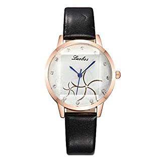 Artistic9 Women's Wrist Watch Digital Dial Quartz Watch with Leather Band Casual Analog Ladies Wrist Watch (Black)