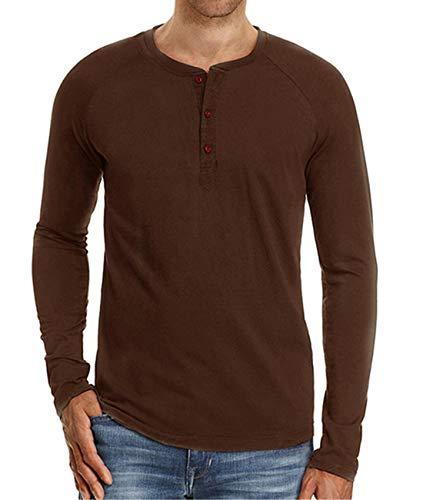 Cyiozlir Herren T-Shirt Langarmshirt mit Grandad-Ausschnitt und Knopfleiste Premium Slim Fit Longsleeve Langarm Shirt für Männer(Braun,Large)