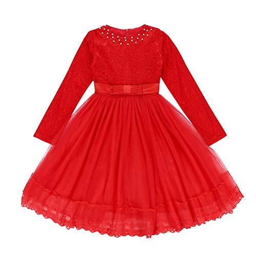 Lserver bambino lungo manica pizzo battesimo festa vestito principessa damigella d'onore pageant compleanno bambine e ragazze nozze gonna baby girl's dress