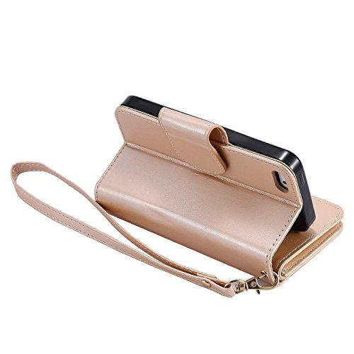 Custodia iPhone 5Sr, Cove Pelle Stand Case Magnetico Flip ID Slot Stampata Morbido Folio PU Leather Super Sottile TPU Interno Case Wallet ProtettivaScheda Goffratura Ragazza Farfalla+ Stylus Pen,oro r model 4