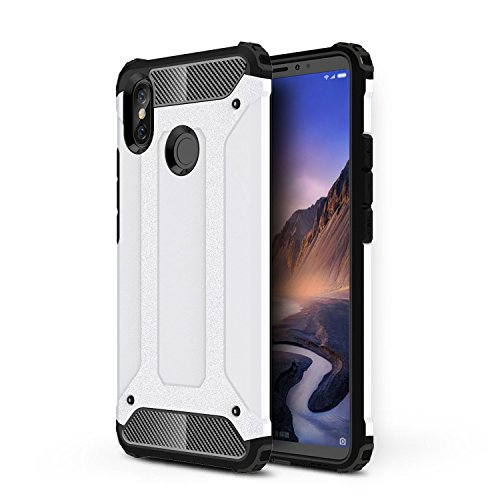 TANYO Compatible con Xiaomi Mi MAX 3 Heavy-Duty Anti-Caída Phone Case, Extraíble 2 en 1 a Prueba de Golpes Robusto y Durable Fashion Ultra-Thin Funda Protectora Blanco.