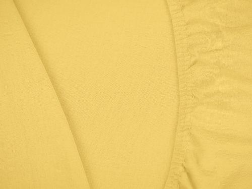 npluseins klassisches Jersey Spannbetttuch - erhältlich in 34 modernen Farben und 6 verschiedenen Größen - 100% Baumwolle, 90-100 x 200 cm, gelb - 5