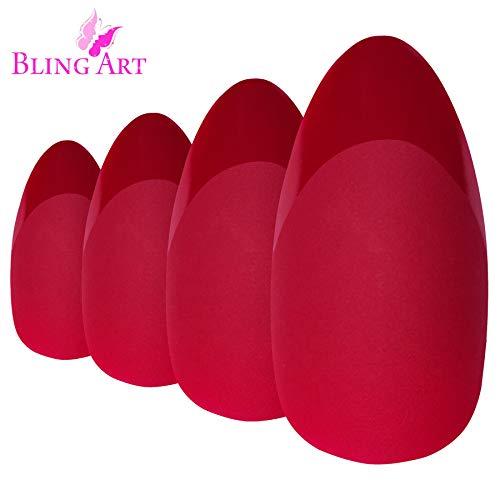 Faux Ongles Bling Art Rouge Mat Stiletto 24 Longue Faux bouts d'ongles acrylique avec colle