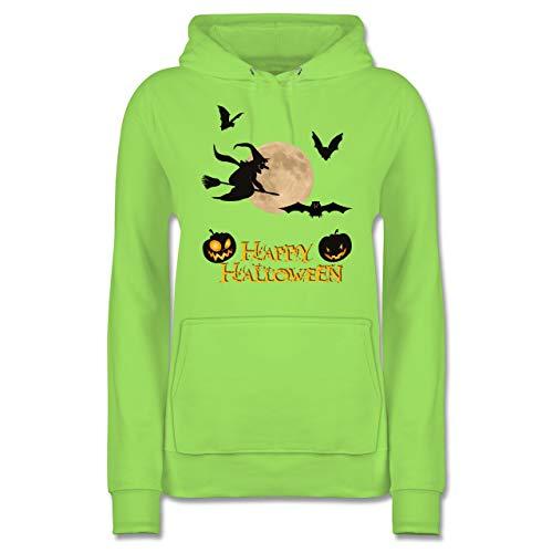 Shirtracer Halloween - Happy Halloween Mond Hexe - L - Limonengrün - JH001F - Damen Hoodie