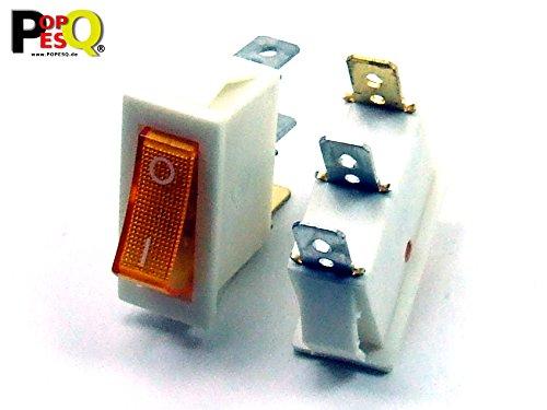POPESQ® - 1 Stk. x Schalter 1 Kontakt mit Beleuchtung 30mm x 13mm 15A / 250V Weiß - Gelb Kunststoff / 1 pcs. x Switch 1 Contact with Lighting 30mm x 13mm 15A / 250V White - Yellow Plastic #A330
