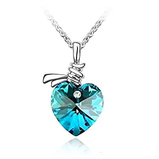 ArturoLudwig Blue Crystal Love Heart Pendant Necklace with Swarovski Elements