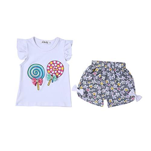Little Girls Sleeveless Tops Schöne Lollipop Bowknot Shirt + Shorts Sommer Kinder Kleidung Sets Kinder Bequeme Kostüm - Weiß L