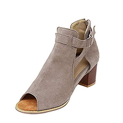 Sandalias Mujer, Zapatos de Tacon Verano Cuero Playa Ante Zapatillas de Boca Tacón Ancho 5cm Alpargatas...