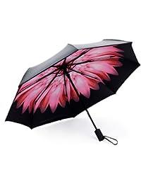 Rain and Sun - Paraguas Plegable y Compacto para Viajes, a Prueba de Viento,